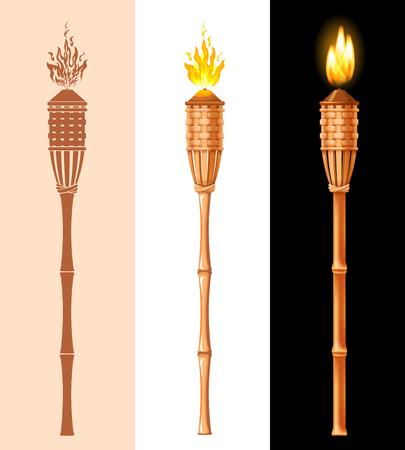 Set torcia Tiki. Torcia di bambù da spiaggia in fiamme in diversi stili, grafica, cartoni animati e 3D realistici. Illustrazione vettoriale. Isolato su sfondo bianco. Vettoriali