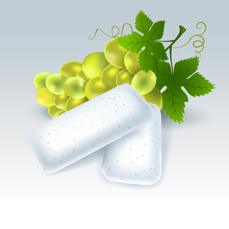 Bubble gum with grape flavor. Chewing pads with fresh vine grape. Vector illustration.
