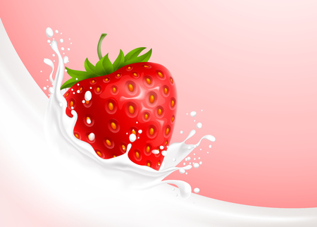 Milk pouring with splash like crown and strawberry against creamy pink background. Vector realistic illustration.