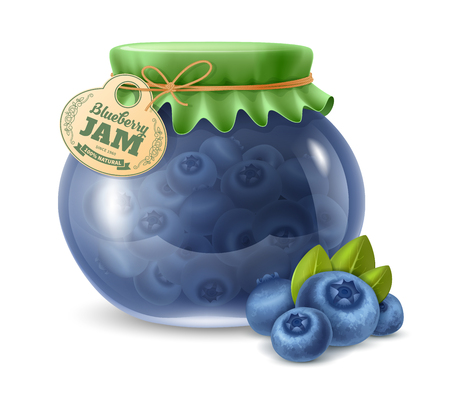 Natural organic homemade blueberry jam in the glass jar with paper label and decorated with textile cover. Vector illustration. Ilustração