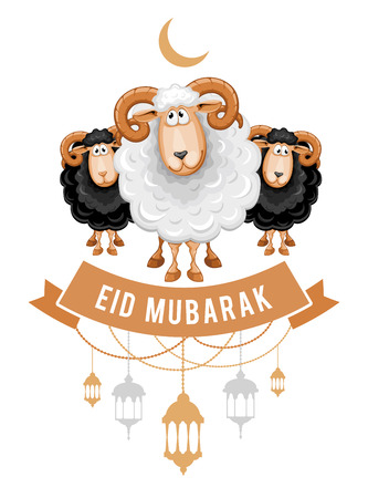 Greeting design for the celebration of Muslim community festival Eid Al Adha. Card with cartoon sacrificial sheeps and arabic lamps. Vector illustration. Ilustração