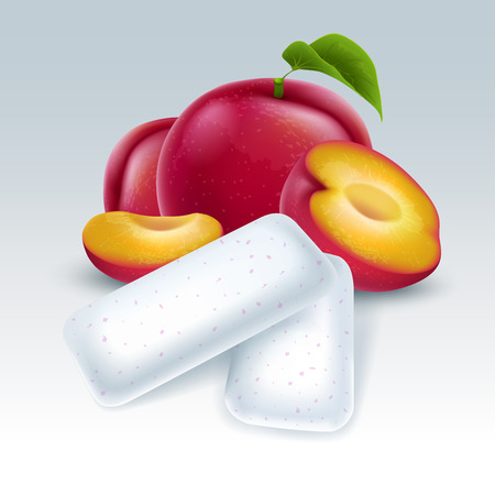 Bubble gum with plum flavor. Chewing pads with fresh plum friut. Vector illustration.
