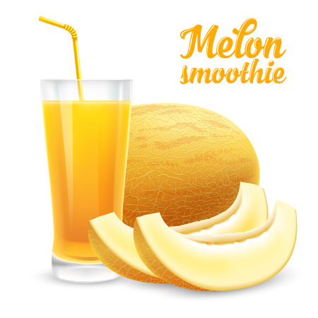 Fresh smoothie or juice of a honeydew melon in a glass with a straw. Whole melon and slices. Realistic vector illustration. Isolated on white background.