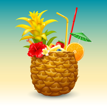 Pineapple cocktail in the half part of pineapple, garnished with tropical flowers, orange slice, straw tubes and small green umbrella. Vector illustration. 일러스트