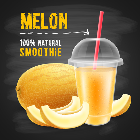 Melon smoothie in disposable plastic cup with a sphere dome and a straw tube. Honeydew melon, whole and slice. Chalkboard background. Realistic vector illustration.