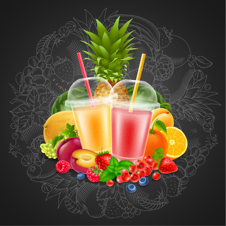 Fruits and berries smoothie in disposable plastic cups. Circle design element in hand drawn doodle style with different fruits and berries on chalkboard background. Vector illustration.