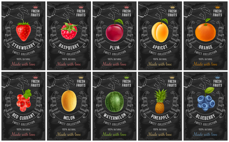 Obst- und Beerenetiketten mit realistischen Früchten und kreativem Design im Kreidezeichnungsstil. Vektorillustration. Vektorgrafik