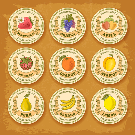 Fruits and berries vintage label collection. Circle form. Vector illustration. Vetores
