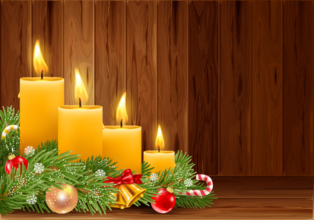 Four Advent Christmas burning candles with festive decorations on wooden background. Xmas greeting. Vector illustration.  イラスト・ベクター素材