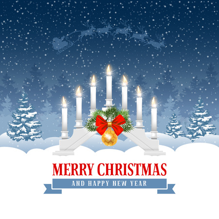 White Christmas candle lights bridge or arch with festive decorations on winter snowy forest background. Xmas greeting. Vector illustration. Illustration