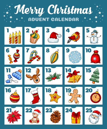 Merry Christmas Advent calendar with pictures on the theme of holiday. Vector illustration.