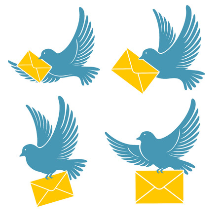 Set of pigeons which delivers mail. Blue dove flying with a yellow envelope. Vector illustration. Stock Illustratie