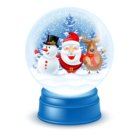 Magic snow globe on white background. Cute and cheerful Christmas company Santa Claus, snowman and reindeer inside on fir trees background. Vector illustration. Stock Illustratie