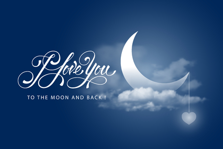 """""""I love you to the moon and back"""" greeting card. Magical illustration with a beautiful crescent moon in the clouds, decorated with hearts and hand drawn lettering. Happy valentines day design. Vector illustration"""