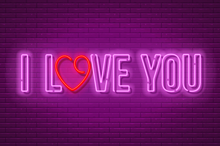 I Love You neon sign with the letter O, stylized in the heart shape on dark brick wall background. Design element for Happy Valentines Day. Vector illustration.