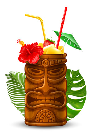 Refreshing Tropical Cold Tiki Drink Cocktail. Vector Illustration. Isolated On White Background.