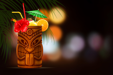 Refreshing Tropical Cold Tiki Drink Cocktail On Summer Night Blurred Background. Vector Illustration.