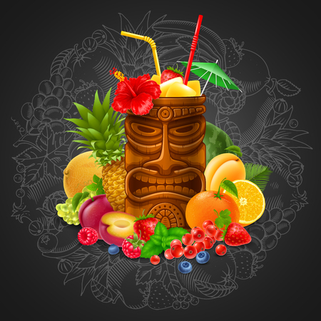 Refreshing Tropical Cold Tiki Drink Cocktail With Fruits On Blackboard Background. Vector Illustration.