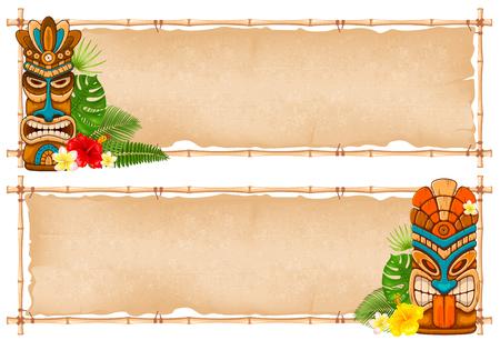 Conception de cadre en bambou tropical d'été avec masque Tiki, feuilles et fleurs exotiques. Illustration vectorielle. Isolé sur fond blanc.
