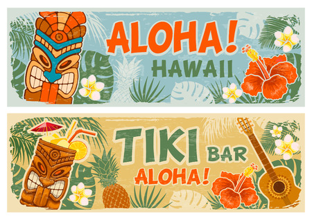 Bannières horizontales avec masque Tiki et autres symboles hawaïens différents dans un style vintage. Fête d'été hawaïenne. Panneau de signalisation de bar Tiki. Illustration vectorielle.
