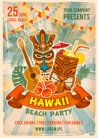 Vintage poster template for party in Hawaiian style. Tiki mask, exotic cocktail and other traditional elements. Place for your text. Vector illustration. 일러스트