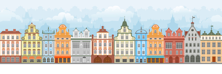 European cityscape with old and cute apartment houses. Seamless town street. Vector illustration