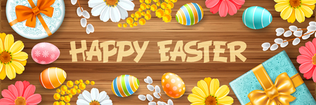 Greeting design for Easter holidays. Cute gifts, colored eggs, willow branches and spring flowers create a festive cheerful mood. Doodle easter elements on wooden background. Vector illustration.