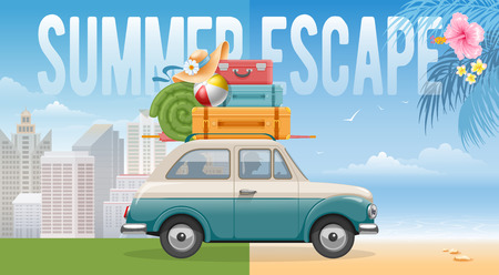Family travels by car. Many luggage on the top of car -suitcases and other needed things. Comfortable travel. From the stuffy city to sea and nature. Vector illustration.  イラスト・ベクター素材