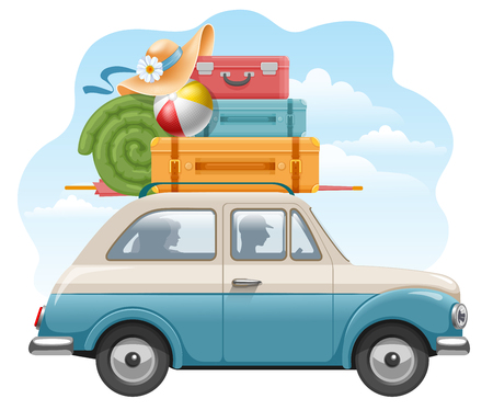 Family travels by car. Many luggage on the top of car -suitcases and other needed things. Comfortable travel. Vector illustration.