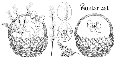 Easter eggs, mimosa flowers and willow branches in the basket which decorated with bow. Easter hand drawn design set. Vintage vector illustration.