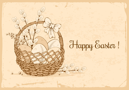 Easter eggs, mimosa flowers and willow branches in the basket which decorated with bow. Easter greeting hand drawn design. Vintage vector illustration.