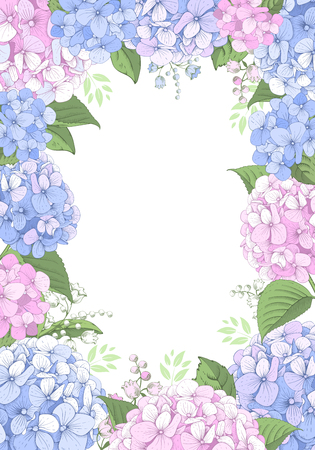 Vector vertical frame with blue and pink hydrangea flowers on white background. Gentle floral design. Can be used as design element for wedding , greeting card, package and other.