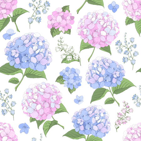 Vector seamless pattern with blue and pink hydrangea flowers on white background. Gentle floral design. Can be used as design element for wedding , greeting card, package and other.