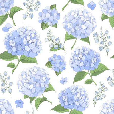Vector seamless pattern with blue hydrangea flowers on white background. Gentle floral design. Can be used as design element for wedding , greeting card, package and other.