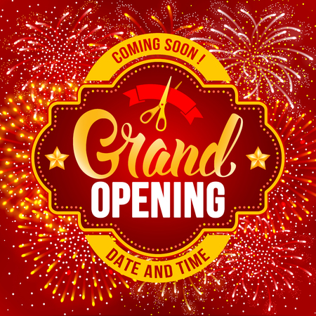 Advertisement of Grand Opening. Unusual design with calligraphy inscription, red ribbon and  scissors. Fireworks create a festive atmosphere. Vector illustration. Illustration