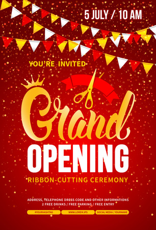 Template for advertising poster of Grand Opening and ribbon cutting ceremony. Unusual and bright design with calligraphy inscription, red ribbon and scissors. Place your text. Vector illustration.