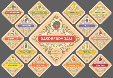 Set of Templates for labels of fruit and berry jam. Retro style colorful simple design with drawings of fruits and berries. Vector illustration.
