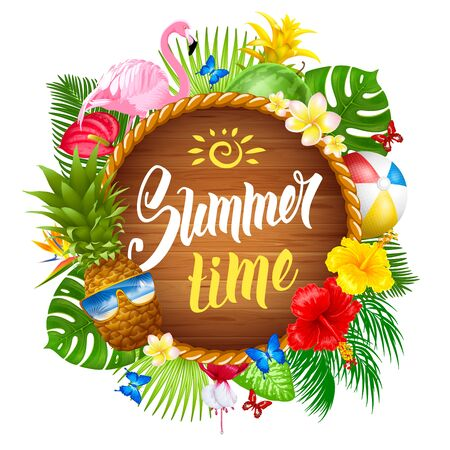 Summer time banner design with wooden circle for text and colorful tropical beach elements. Vector illustration. Isolated on white background.