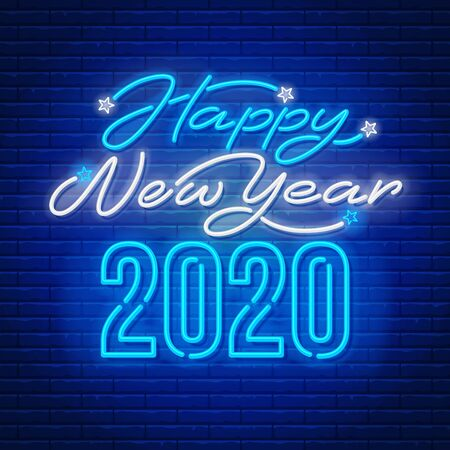 Happy New Year 2020 text written by neon. Unusual and bright inscription. Brick wall on background. Vector illustration.