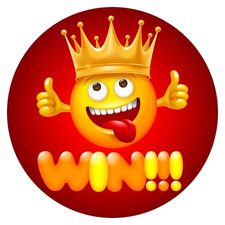 Win ! Bright and cheerful concept design for label, sticker or other events related to competition and win. Cute smiling emoji with crown of winner. Vector illustration.