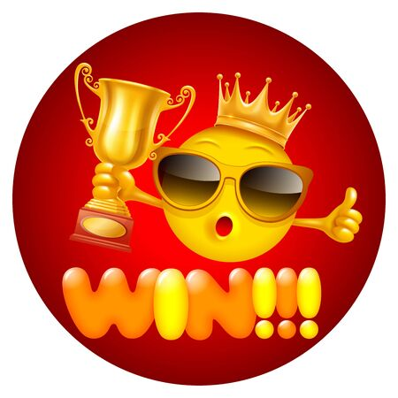 Win ! Bright and cheerful concept design for label, sticker or other events related to competition and win. Cute emoji with golden crown of winner and trophy cup. Vector illustration.