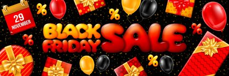 Template for Black Friday Sale advertising banner. Bright and festive design with gifts, balloons and confetti. Ad offer discount on shopping day. Vector illustration.