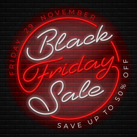 Advertisement of Black Friday Sale. Bright and enticing retro design with luminous neon letters on brick wall background. Ad offer discount on shopping day. Vector illustration. Ilustração