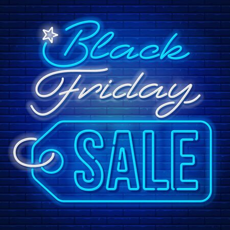 Advertisement of Black Friday Sale. Bright and enticing design with luminous neon letters on brick wall background. Ad offer discount on shopping day. Vector illustration.