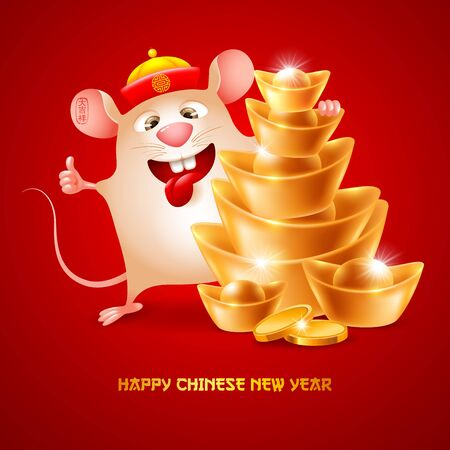 Happy Chinese New Year. Cute and funny rat, zodiac symbol of new  year and stack of golden ingots. Wish wealth and prosperity in the new year. Chinese translate Good Luck. Vector illustration.