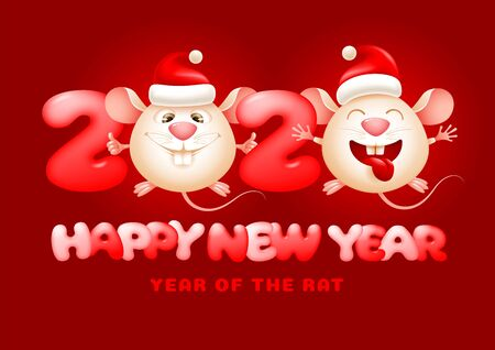 Happy Chinese New Year greeting card. Year of the Rat. Cute and funny rats with Santa Claus hats, stylized as zeros in 2020, smiling. Wish health and prosperity in the new year. Vector illustration. Illustration