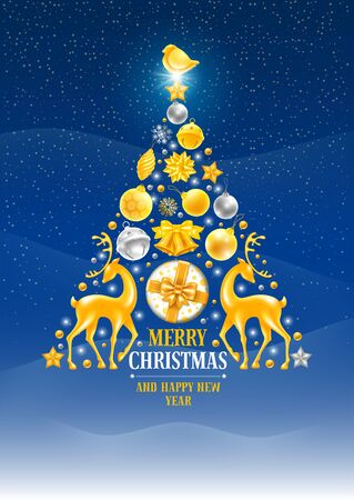 Luxury Christmas Tree made of festive elements such as golden and silver bells, gift, snowflakes, christmas balls, birds, deers etc on snowy background. Christmas and New Year greeting card. Vector.