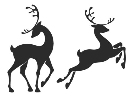 Deer collection. Stand and jumping young deers. Graceful style for Christmas and New Year festive designs. Silhouette, isolated on white background. Vector illustration. Ilustração