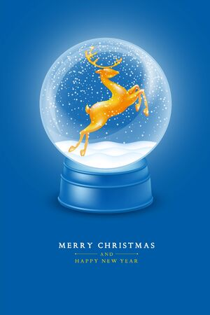 Christmas and New Year greeting graceful design. Luminous magic snow globe with golden glossy and sparkling statuette of jumping deer and flying snowflakes. Realistic vector illustration.