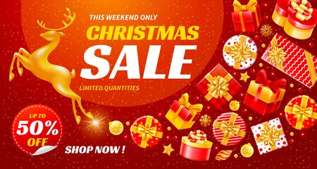 Festive Christmas and New Year Sale. Luxury, enticing and bright vector design with golden running magic deer and many gift boxes. Concept of Christmas sale with large discounts and nice surprises.